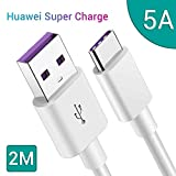 Cable Huawei 5A,GlobaLink 2M Cable USB Tipo C Carga Rapida Super Charge para Huawei Mate 40 Pro/40 Pro+/40 RS/40/P40/P40 Pro/P30/P30 Lite/Mate 30/30pro/Mate 20/20 Pro/10/P20/P20 Pro/P10(Blanco)