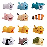 YMHPRIDE 12 Pack Cute Cartoon Animal Cable Protector, previene la Rotura del Cable Cable Protector Case para iPhone/iPad, Varios Animal Cable Chewers Mini Cables