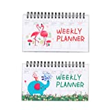 STOBOK Cute Cartoon Daily Weekly Planner Notebook Elephant y Flamingo Memo Notpad Coil Schedule Book, 2 Pack