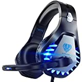 Pacrate Cascos Gaming para PS4 PS5 Xbox One PC Laptop Switch, Auriculares Gaming Estéreo Sonido, Cascos con Microfono con Luz LED, Cascos Gamer Jack de 3,5 mm con Cancelación de Ruido (Azul)