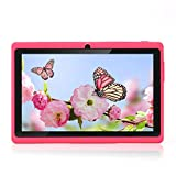 Haehne 7' Tablet PC, Google Android 4.4 Quad Core, 512 MB RAM 8 GB ROM, Cámaras Duales, WiFi, Bluetooth, para Niños y Adultos, Rosado
