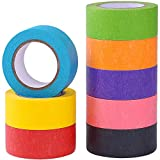 Juego de 8 rollos de cinta adhesiva de colores para manualidades, codificación de color, decoración, suministros de arte divertido para niños, cinta adhesiva de color, washi tape