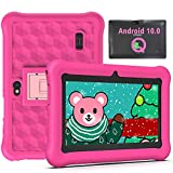Tablet para Niños 7 Pulgadas Android 10.0 Google Certified Playstore, 2GB RAM 32GB ROM Ampliable hasta 128GB, Tablet de Niños con WiFi Juegos Educativos Kid-Proof Funda (Rosa)