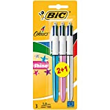 BIC 4 colores Shine Bolígrafo Retráctil punta media (1,0 mm) – colores Metálicos Surtidos, Blíster de 2+1