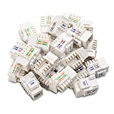 Cable Matters [UL Listed] 25-Paquetes de Cat6 RJ45 Keystone Jack en Blanco y Keystone Punch-Down Stand