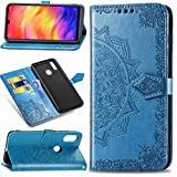 MUSESHOP Xiaomi Redmi Note 7 Case, Mandala Print Case Book Book with Flip and Wallet, PU Leather Case with TPU Silicone Soft Inner Case - Blue